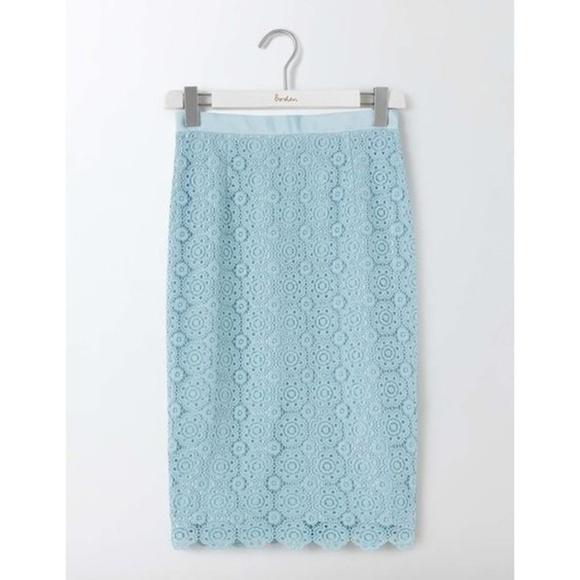 """Boden Dresses & Skirts - Boden Alexa """"Light Blue"""" Lace Pencil Skirt"""
